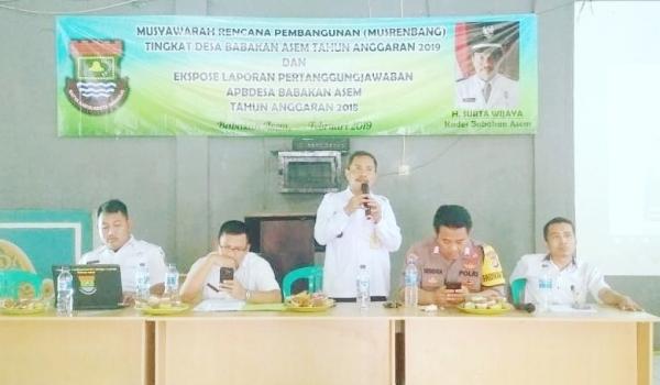 Kepala Desa Babakan Asem Hadiri Acara Musrembang Desa Tahun Anggaran 2019